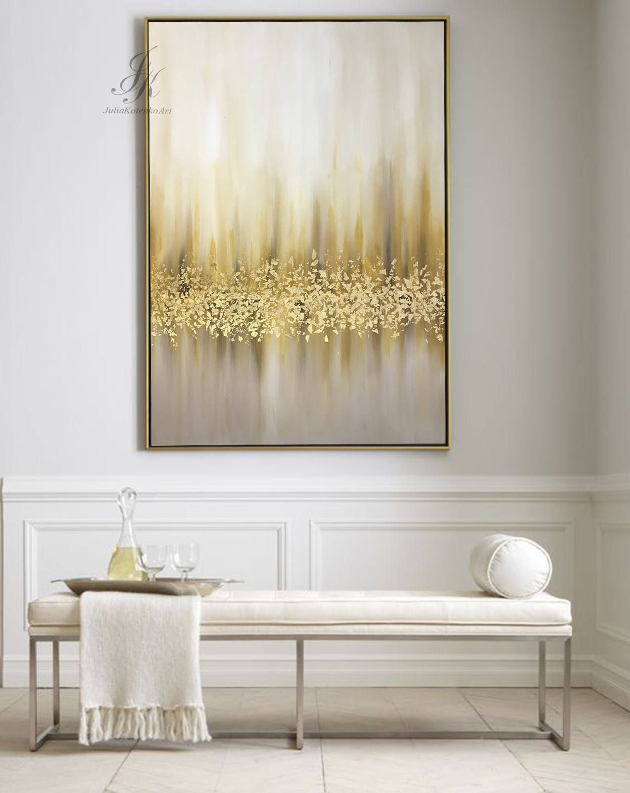 Photo of Abstrakte Ölgemälde auf Leinwand, große Wandkunst, Blattgold, Wand-Dekor, Original-Gemälde helle Moderne Kunst abstrakte Malerei von Julia Kotenko