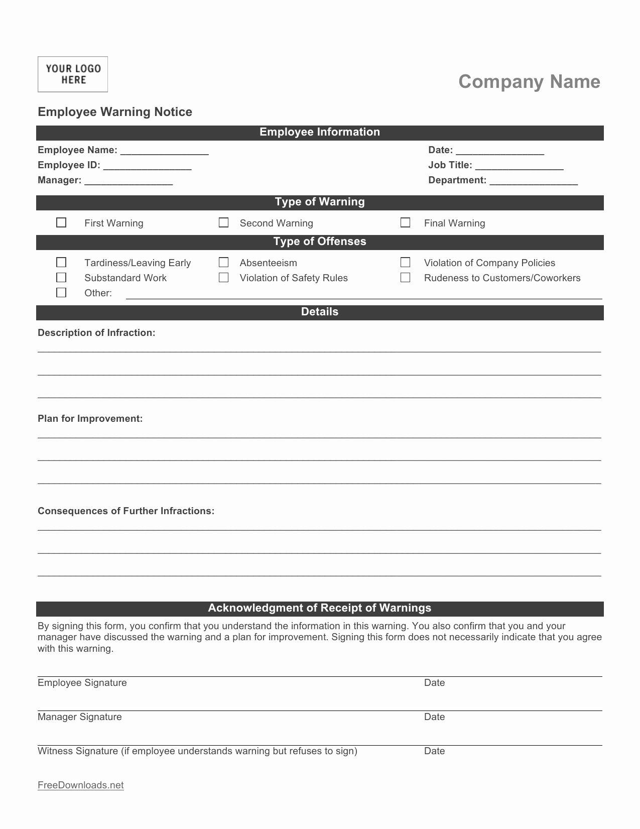Free Printable Employee Write Up Form Beautiful Download Employee Write Up Form Pdf Rtf Funeral Program Template Templates Writing