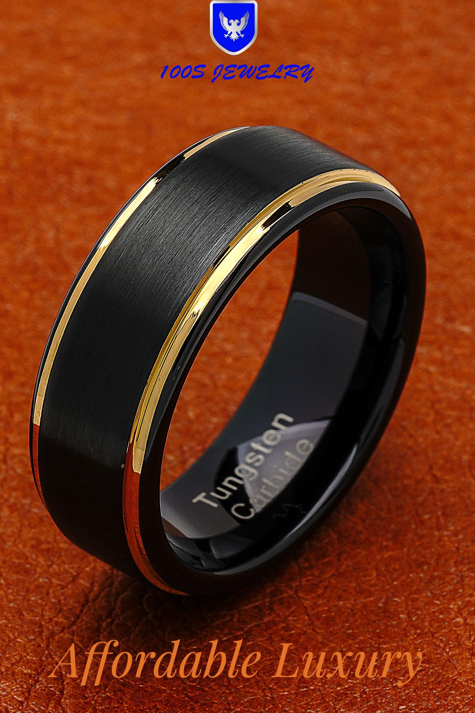 100s Jewelry Tungsten Rings For Men Two Tone Black Gold Wedding Band Center Brushed Engagement Size 6 16 Mens Wedding Bands Tungsten Tungsten Mens Rings Mens Wedding Rings