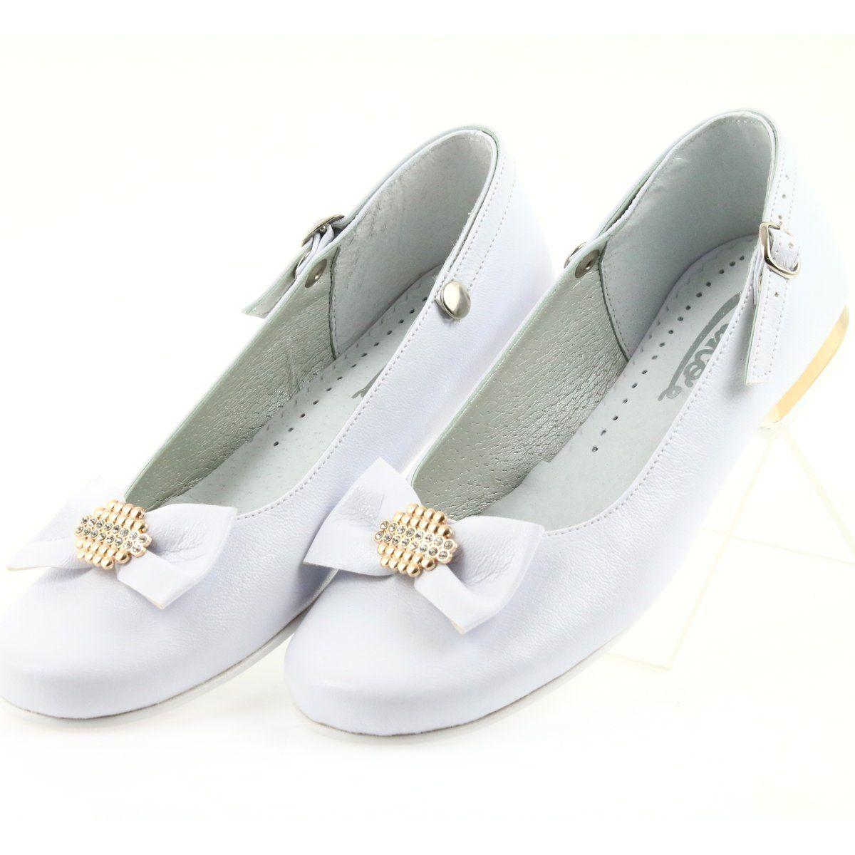 Miko Czolenka Dzieciece Balerinki Komunijne Biale Zolte Kid Shoes Ballerina Kids White Shoes