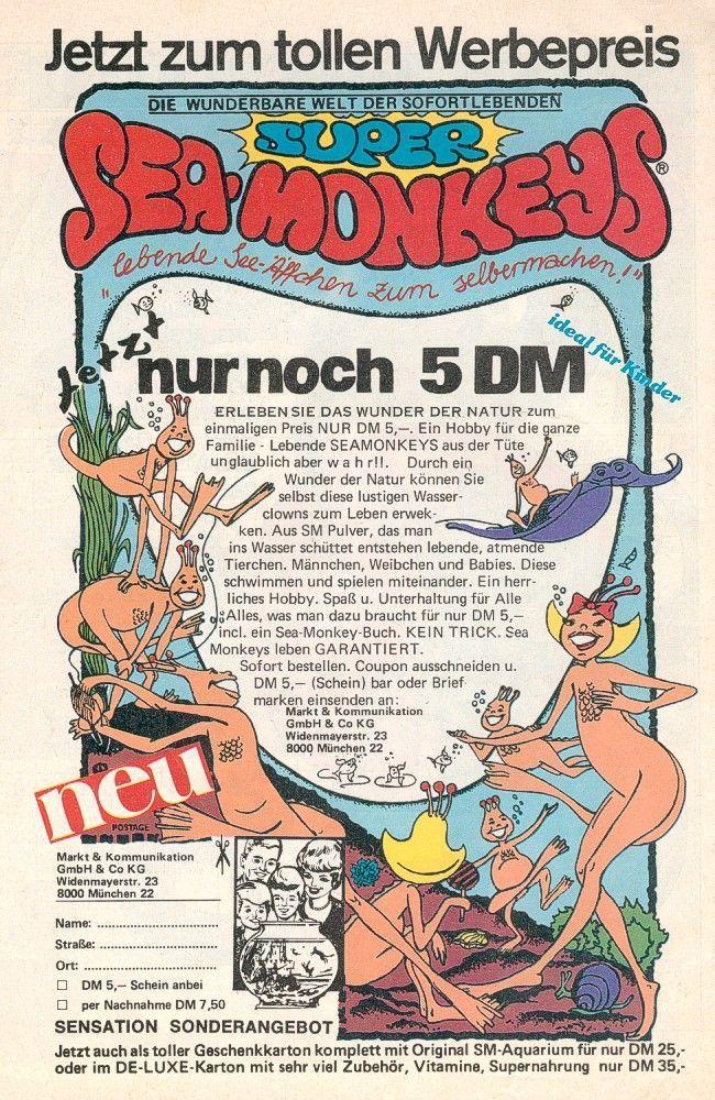 Die Jetzt Ikonische Sea Monkey Anzeige Aus Den 80ern Retro Kindheitserinnerungen Kindheit Kinderzeit