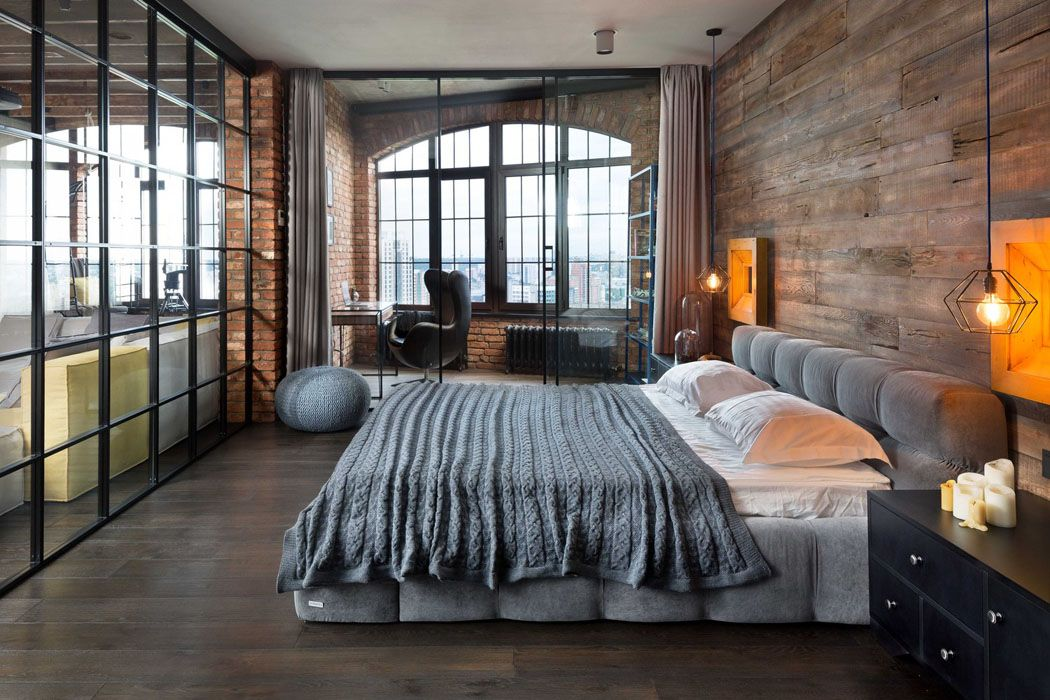 Chambre Style Loft Industriel #3: Beau Loft Industriel à Kiev Au Design Intérieur Résolument Masculin