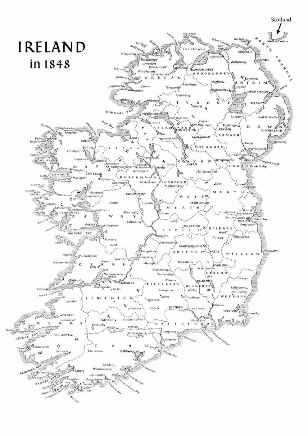 year of famine  map of ireland 1848