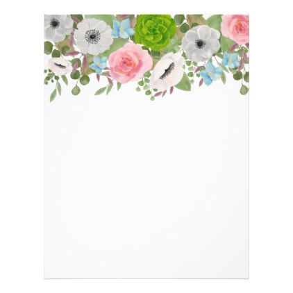 spring flowers anemones roses wedding letterhead 095 by wedding_trends_now diy or personalize