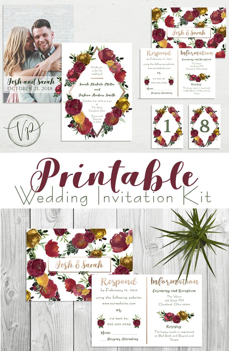 Fall Watercolor Floral & Rose Gold Wedding Invite Kit w/RSVP Cards ...