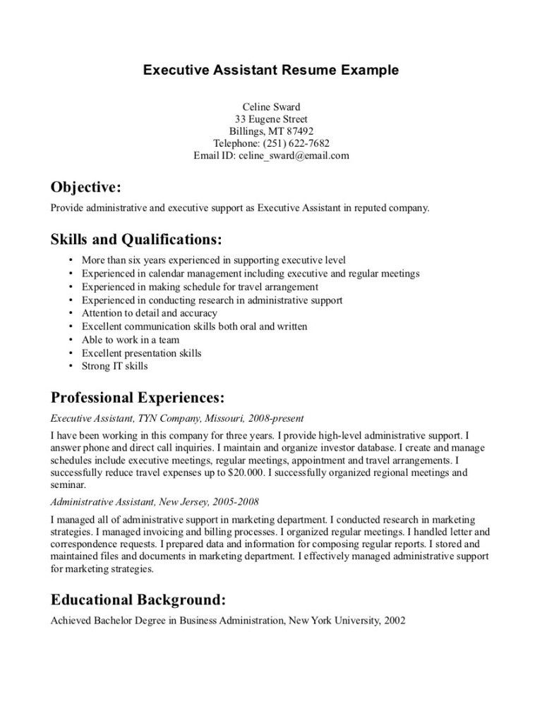 Administrative Assistant Resume Samples Free Sample Resumes - Executive Assistant Resume Samples Free