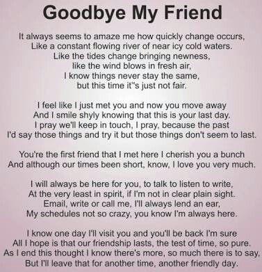 Sad goodbye letter to best friend
