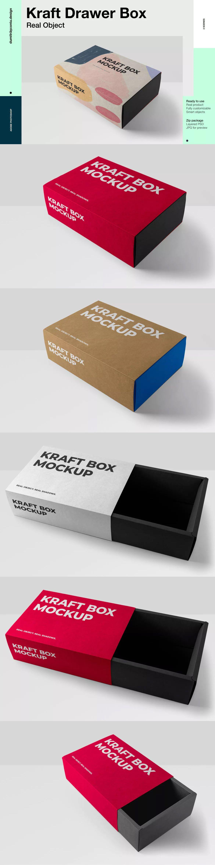 Download Rectangular Drawer Kraft Box By Digital Infusion On Envato Elements Box Mockup Kraft Boxes Kraft