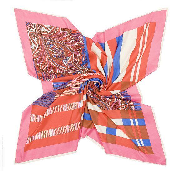 Silk Square Scarf  100% Silk Twill Scarf  100cm by SummerMatcha