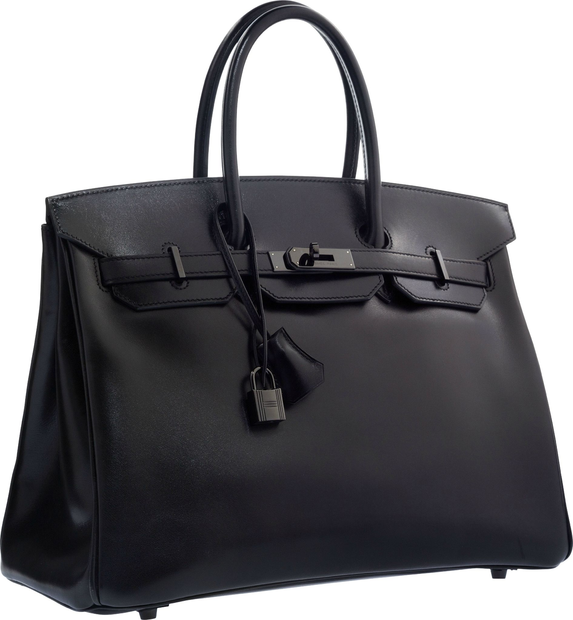 Hermès Limited Edition 35cm So Black Calf Box Leather Birkin Bag With Pvd Hardware