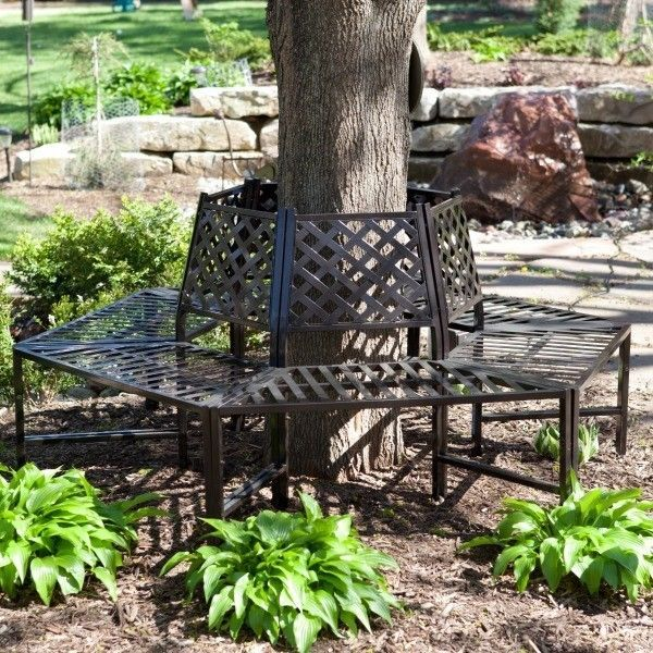 Outdoor Tree Bench Metal Wrap Around Garden Furniture Patio