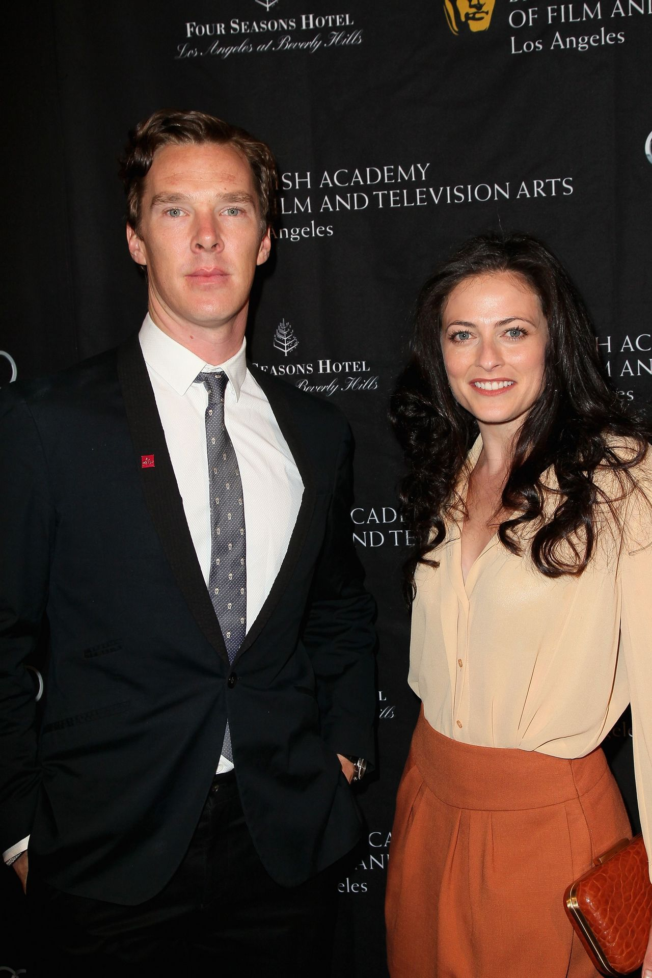 Benedict Cumberbatch and Lara Pulver arrive at the BAFTA Los Angeles 2013 Awards Season Tea Party held at the Four Seasons Hotel Los Angeles on January 12, 2013 in Los Angeles, California.