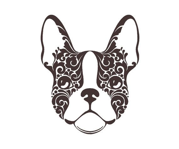 Boston terrier v3 tribal dog breed custom die cut vinyl decal sticker choose your color and size