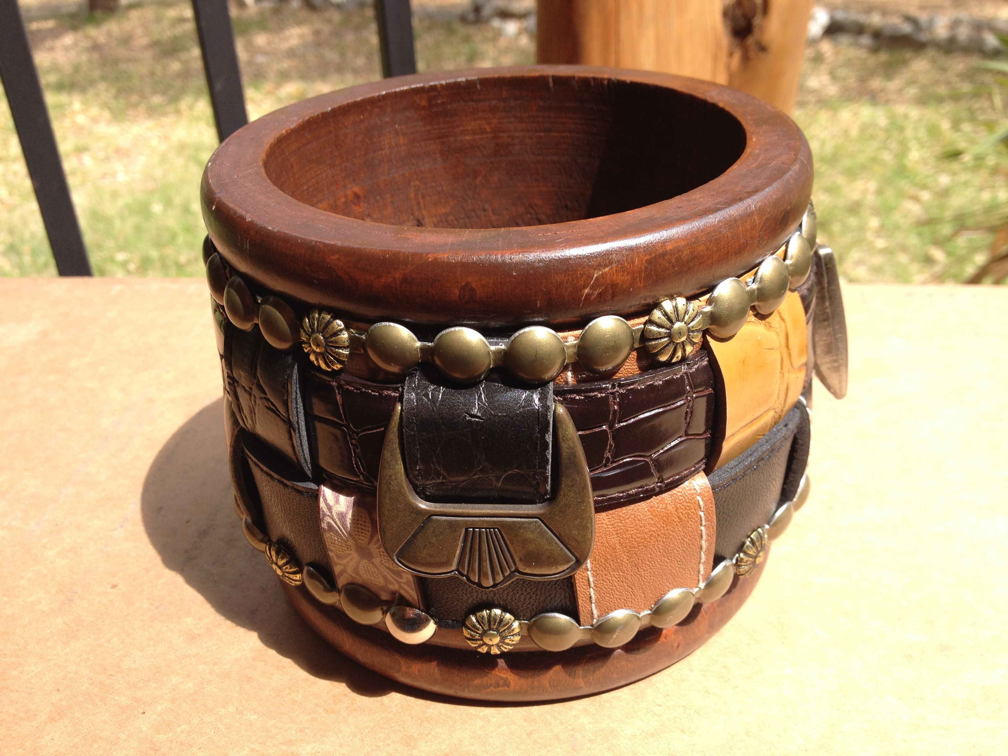 Small buckles for crafts - Small Wooden Bowl I Found At Thrift Store Added Belts And Buckles And Going To