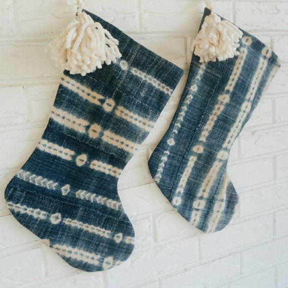 Indigo Mudcloth Christmas Stocking