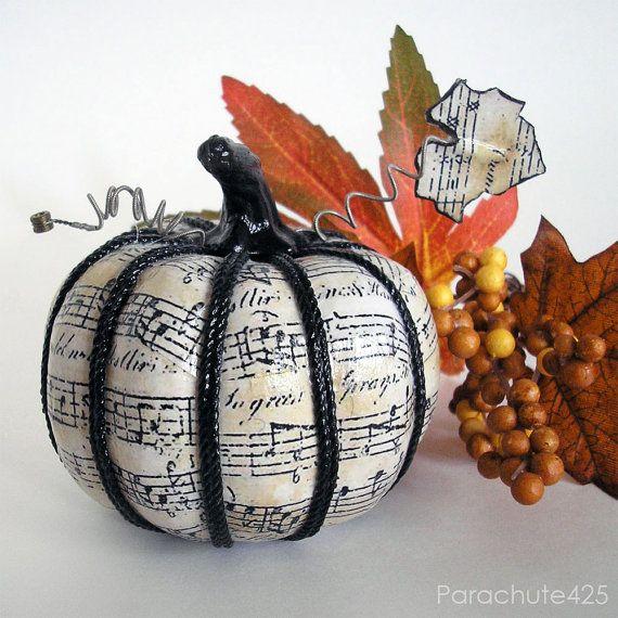 music pumpkin 121 3 inch decoupage halloween decor music decor shabby chic