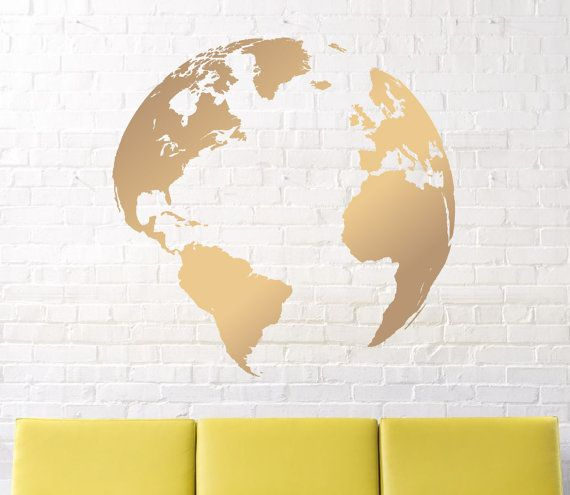 Wall decals map decal nursery wall decal earth decal globe wall decals map decal nursery wall decal earth decal globe decal world map decal vinyl wall decal gold earth gumiabroncs Image collections