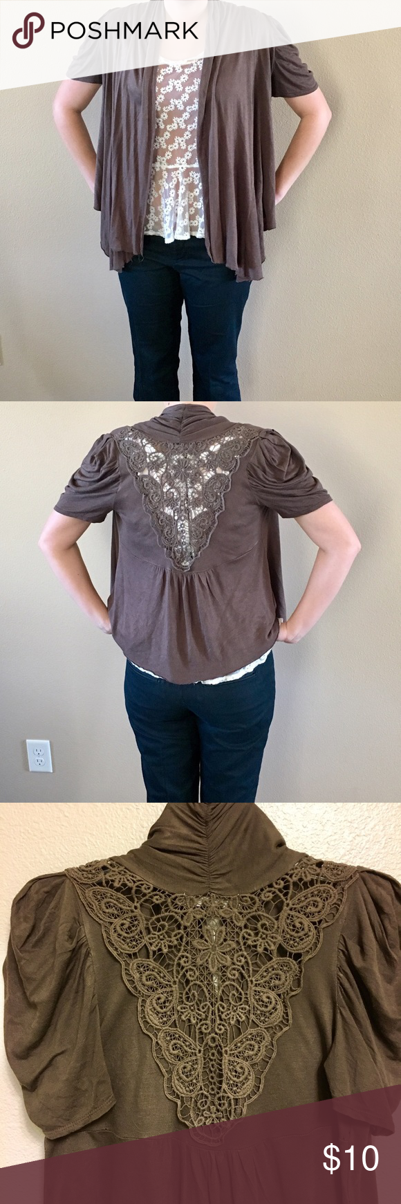 Brown short sleeve cardigan with lace on the back Lightweight ...