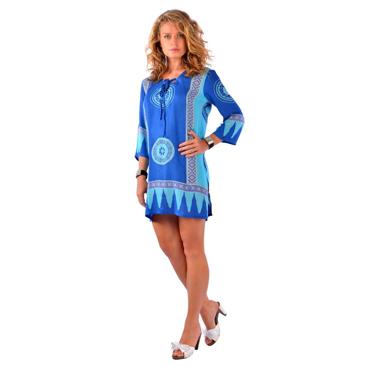 world sarongs womenus turquoise abstract tiki tunic coverup