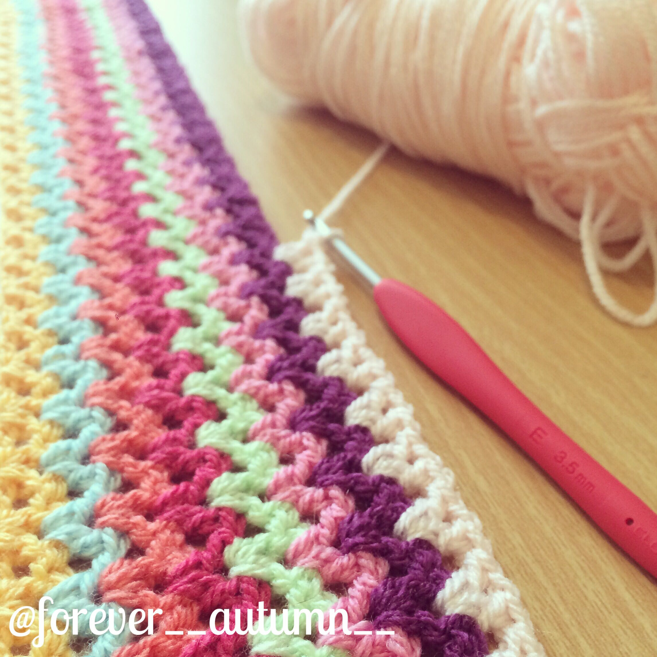 V-stitch blanket in the making @forever__autumn__ | Crochet Patterns ...