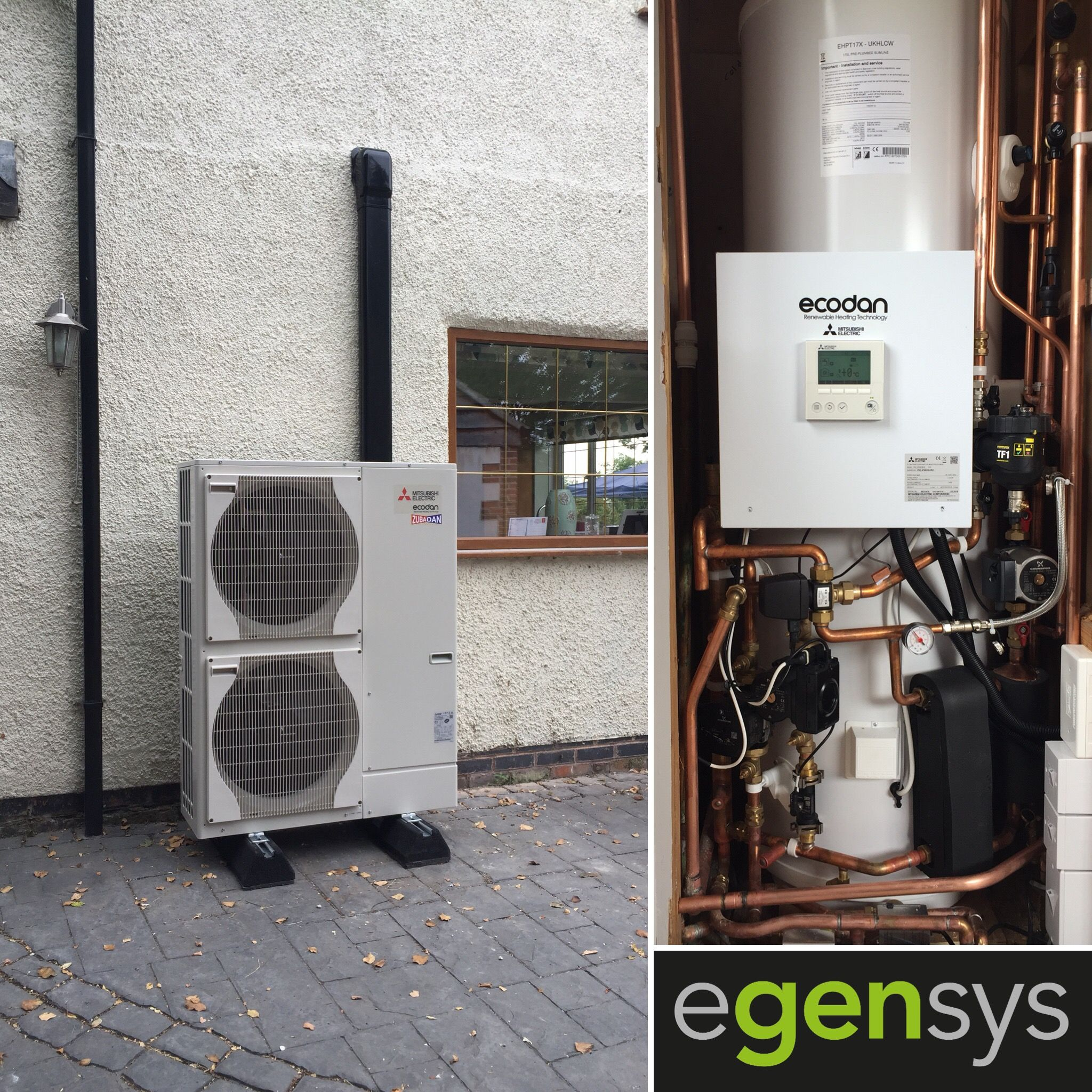 14kw Ecodan Ashp With 170l Mitsubishi Pre Plumbed Slimline Cylinder Installed Into A Solid Wall Construction Property In Aston On T Heat Pump Installation Heat