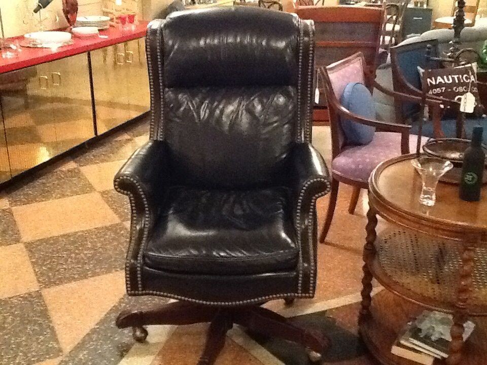 Hancock And Moore Navy Blue Leather Executive Chair