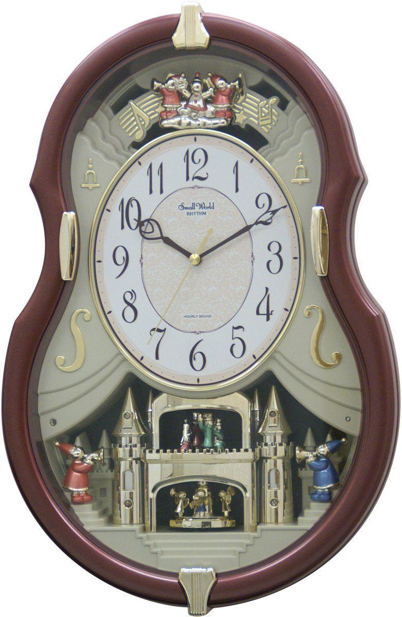 New Rhythm Clocks Grand Time Cracker Musical Motion Clock Brown
