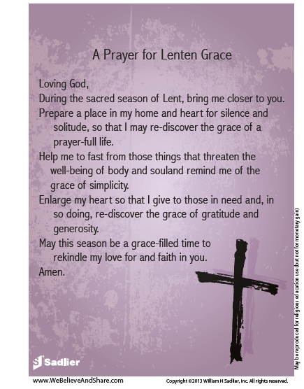 Download my Prayer for Lenten Grace and use it in your home or parish to prepare for and to celebrate Lent.