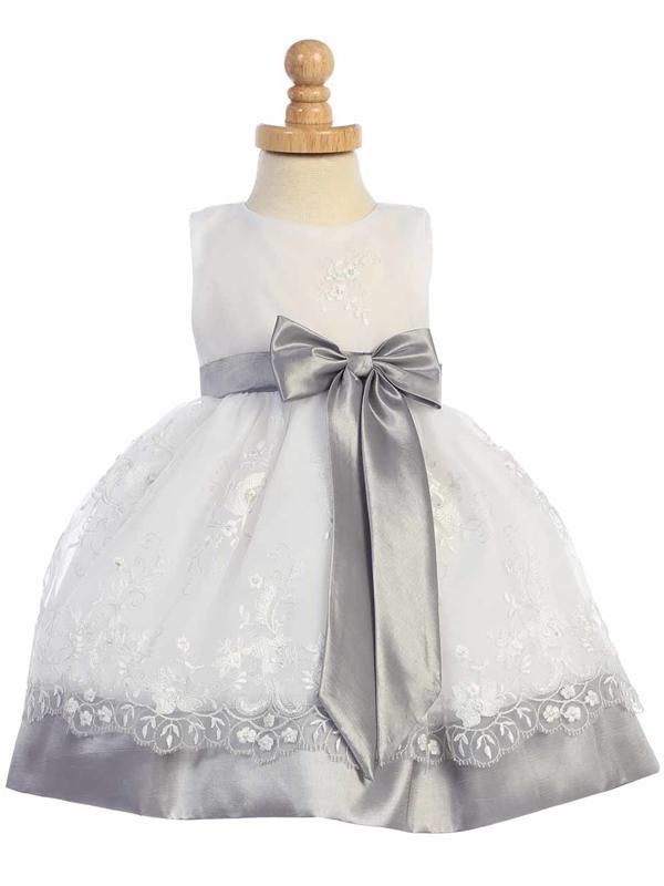 Silver And White Embroidered Organza Satin Flower Girl Dress