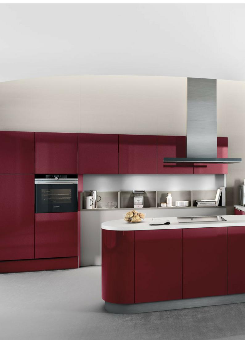 Farbige Küche, Küche, Farbe, Rot, Dunkelrot, Weinrot, Hochglanz, Hochglanz