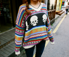 colorful skull sweater