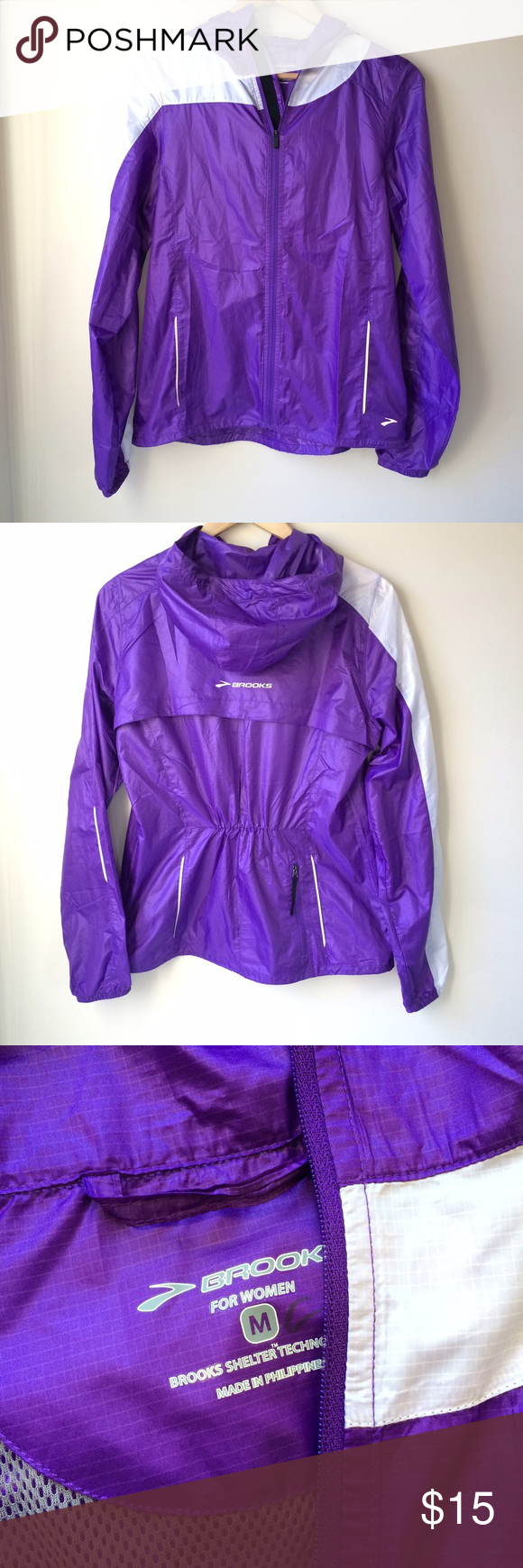 Brooks Shelter Technology Running Rain Jacket Brooks Shelter Technology jacket, size medium. Super lightweight, water and wind resistant. Stuffs into back pocket. There is a tiny hole near back hem and a mark on the tag. No care tag. Great condition otherwise! Brooks Jackets & Coats
