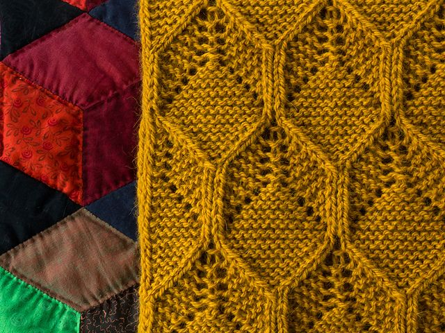A Bold Large Scale Honeycomb Pattern On A Soft Cosy Scarfthis Is