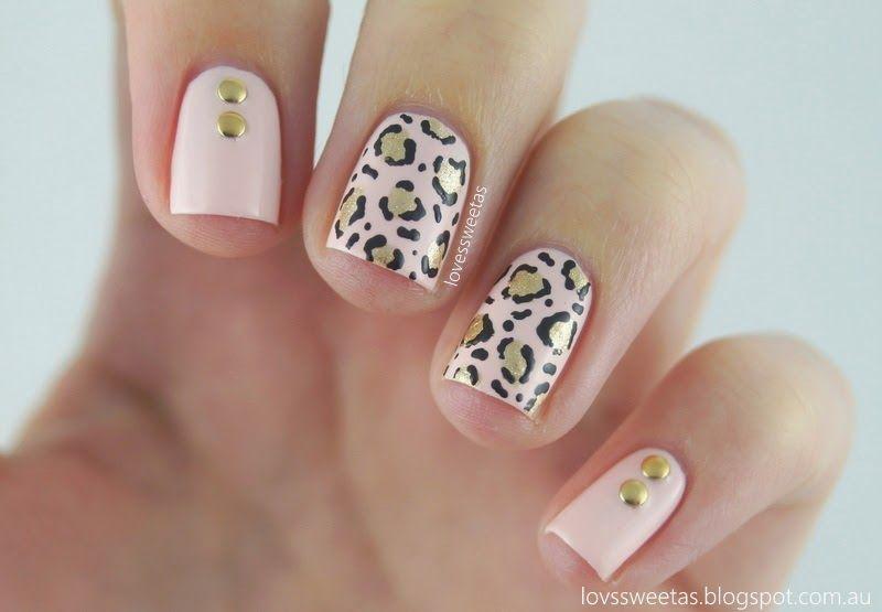 love\u0027s sweet as Nail Art - Leopard Print  Studs {Pale Pink  Gold - modelos de uas