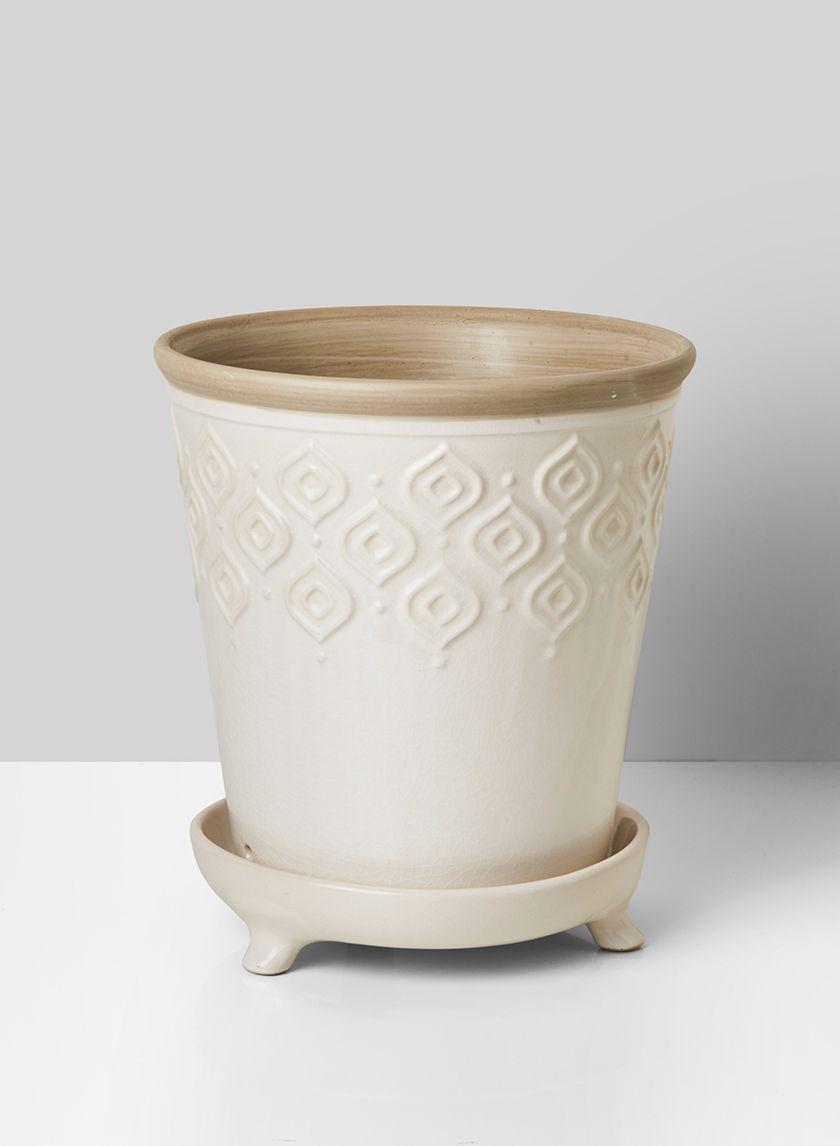 10 In Vintage White Ceramic Pot Saucer In 2020 White Ceramics Ceramics Vintage