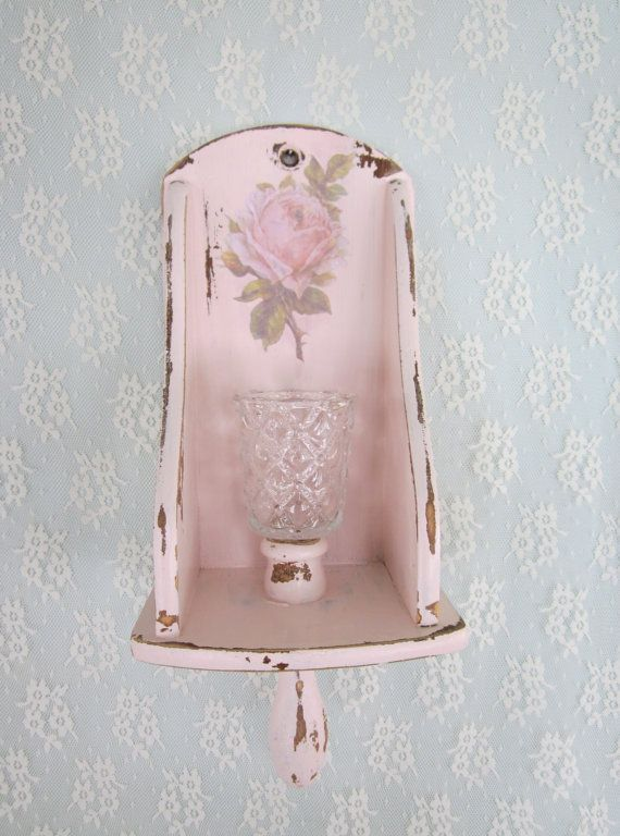 Shabby Chic Rose Wall Sconce Pink Wooden Candle By Fannypippin Teelichter Kerzen Windlicht