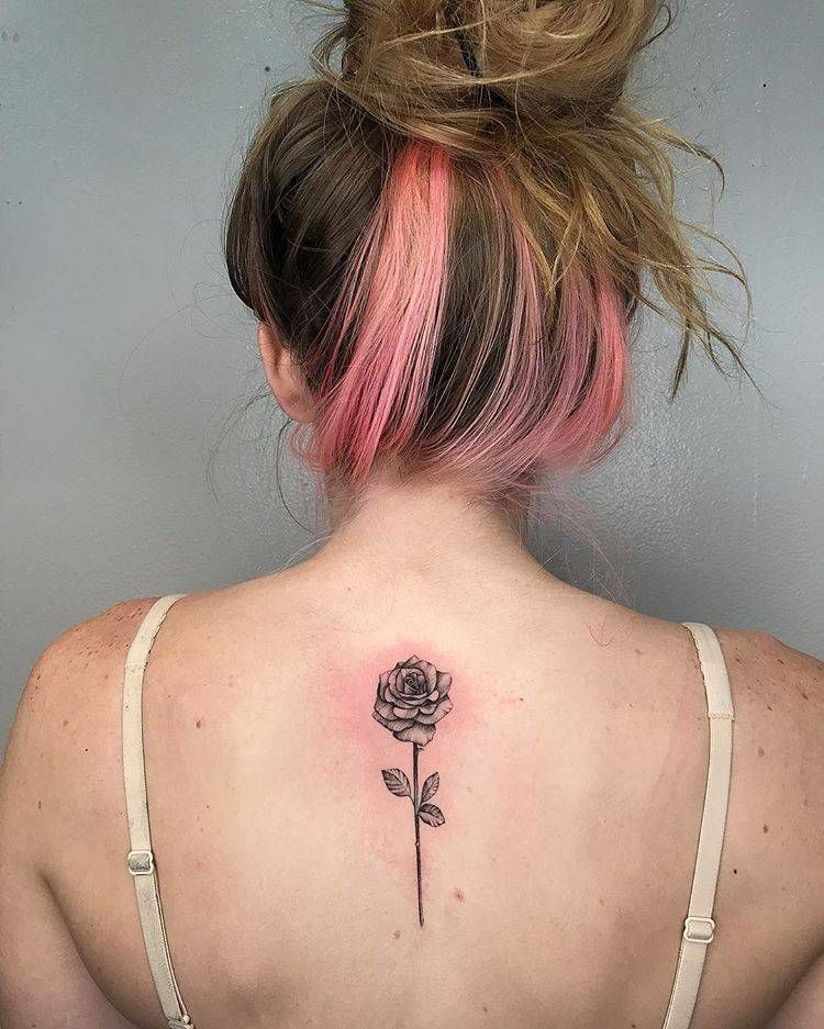 Single Needle Rose Tattoo On The Upper Back Back Tattoo