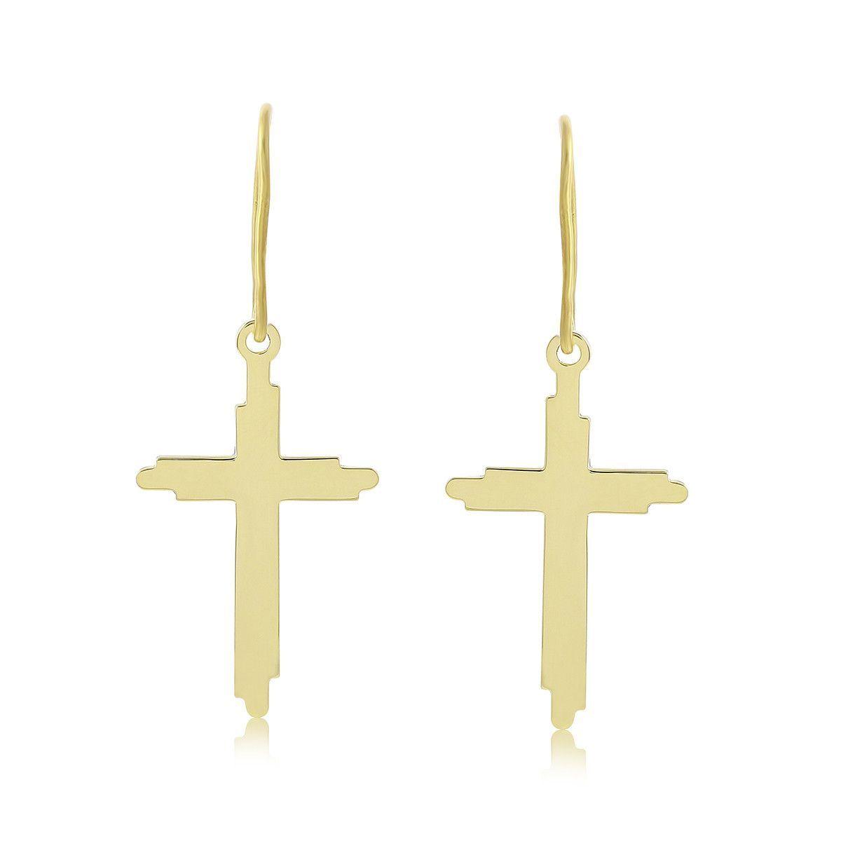 Holy Cross Flurie Cross Earrings in Brass