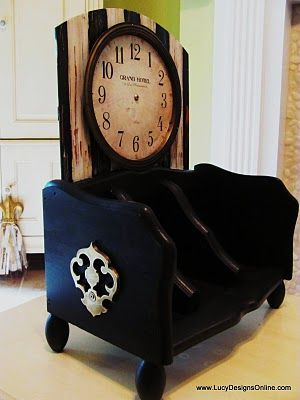 Organizer made from wooden breadbox  #clock #paint #recycled