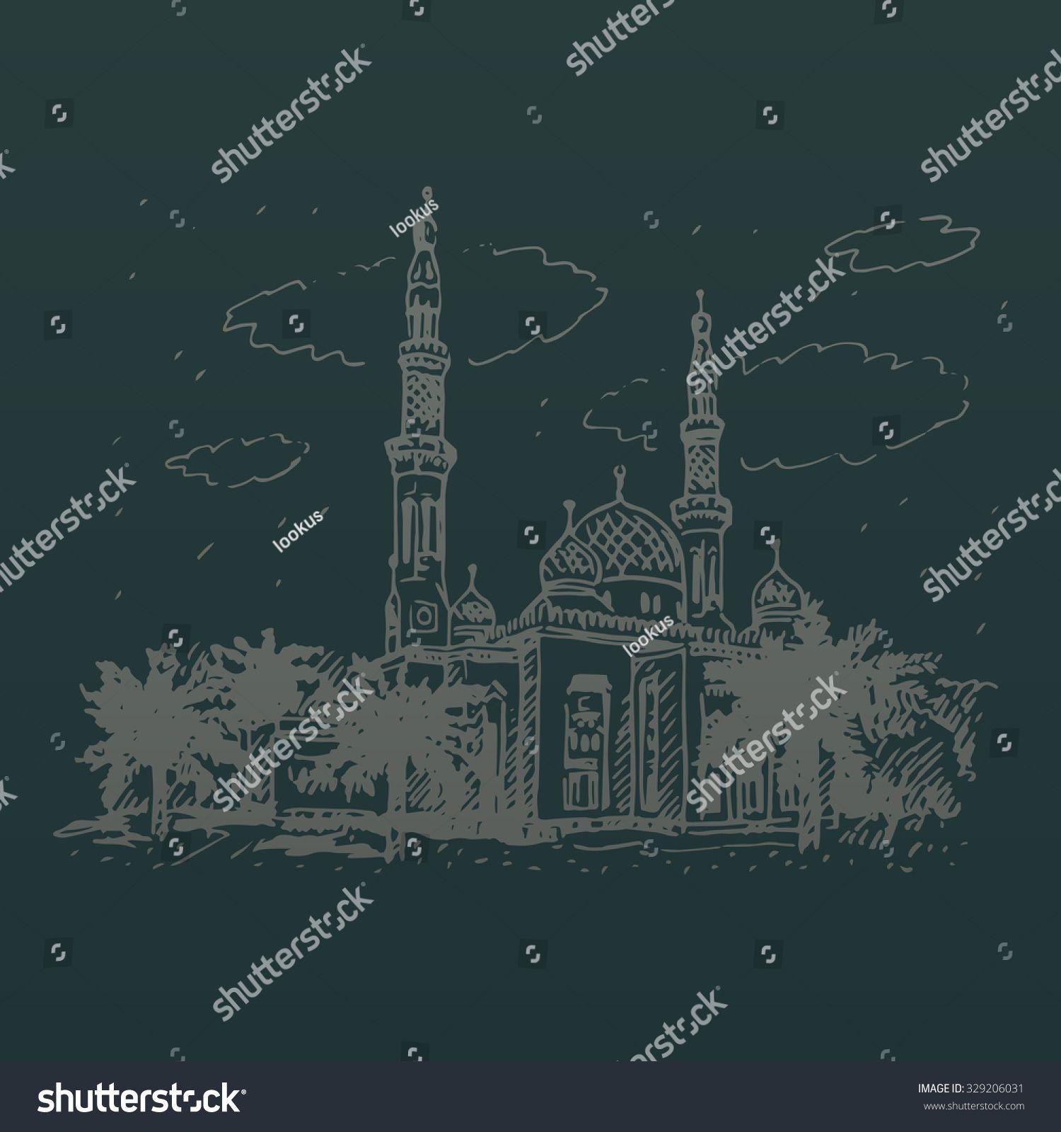 Jumeirah Mosque in Dubai, UAE. Vector hand drawn sketch. #Sponsored , #Affiliate, #Dubai#UAE#Jumeirah#Mosque
