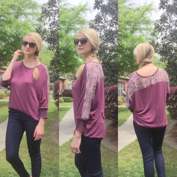 Gorgeous Detailed Dolman Top  This high low dolman top is flowy and comfortable. The shoulders and back are covered with sheer material with a detailed bird print. In perfect condition ✨I discount bundles ✨ Tops Tees - Long Sleeve