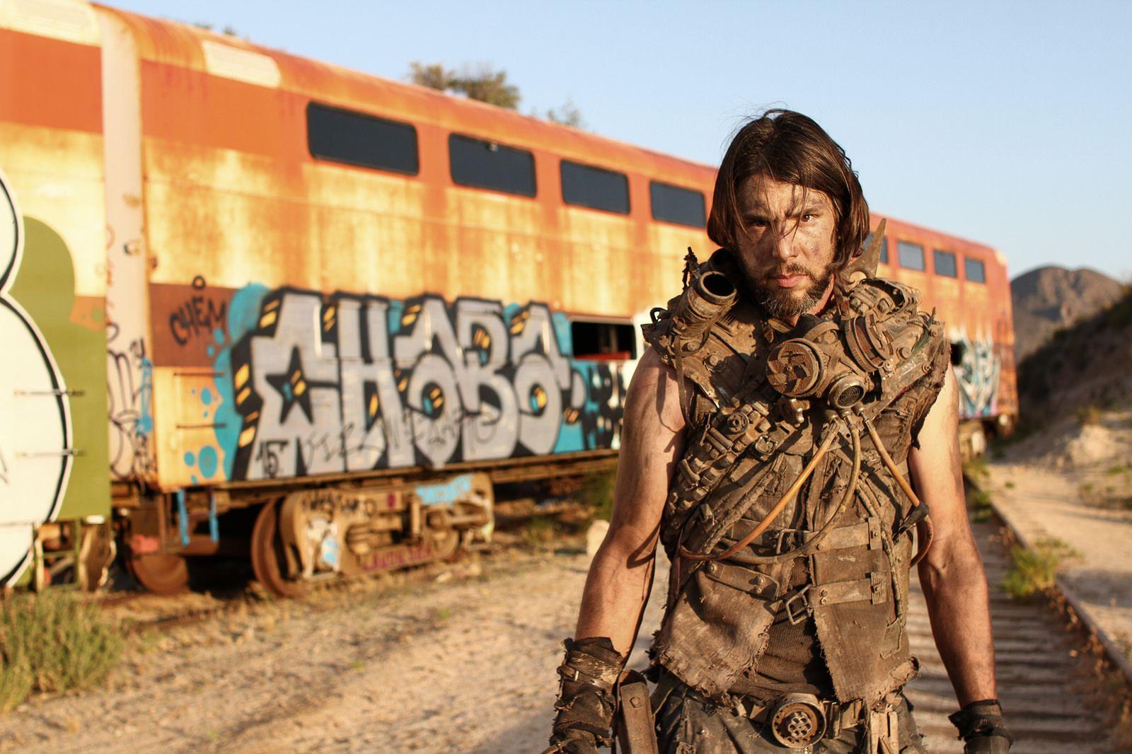 Post apocalyptic jacket vest top armor. Homemade. Gas mask respirator. Abandoned trains.