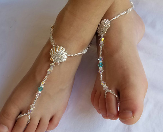 ec72996a5398 Seashell Foot Jewelry Sandal Anklet Crystal Wedding Foot Jewelry Slave  Anklet Starfish Foot Thong C