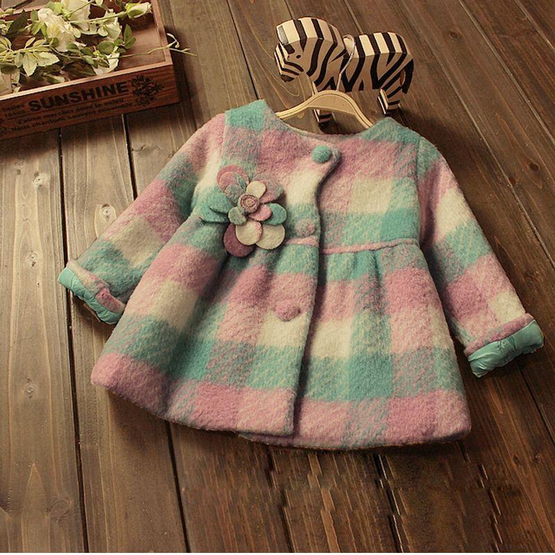 03484c062bb Crianças roupas de bebê meninas moda outerwear princesa grade crianças inverno  casaco grosso quente pastoral longo blazer em Lã e Mesclas de Mãe   Kids no  ...