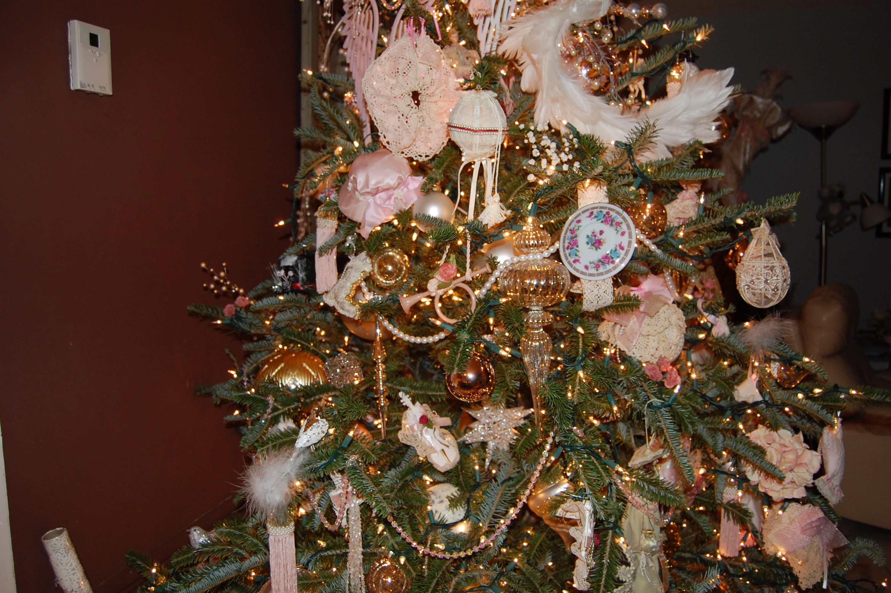 Pink Victorian Tree Ornaments Include White Peacock With