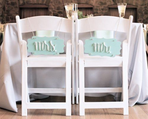 Wedding Chair Signs: mr. & mrs. pair (gentle wave and white) image 2