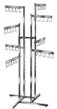 MetropolitanDisplay - 8 Arm Handbag Rack with Square Tube Straight Arms with Hooks. Double Square Tube Uprights., $67.99 (http://www.metropolitandisplay.com/heavy-duty-steel-ball-caster-with-brake-2-5-diameter-3-8-thread-x-3-4-long-case-pack-of-100/)