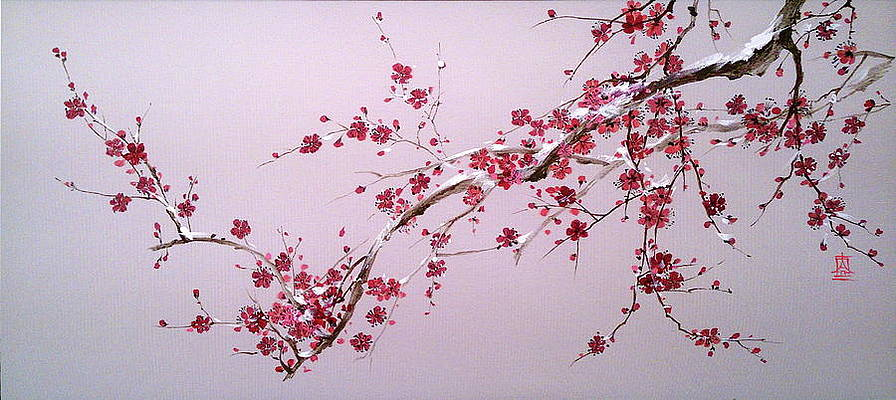 Pink Cherry Blossoms Painting Blooming Sakura Branch With Snow By Alina Oseeva In 2021 Cherry Blossom Painting Sakura Painting Cherry Blossom Painting Acrylic