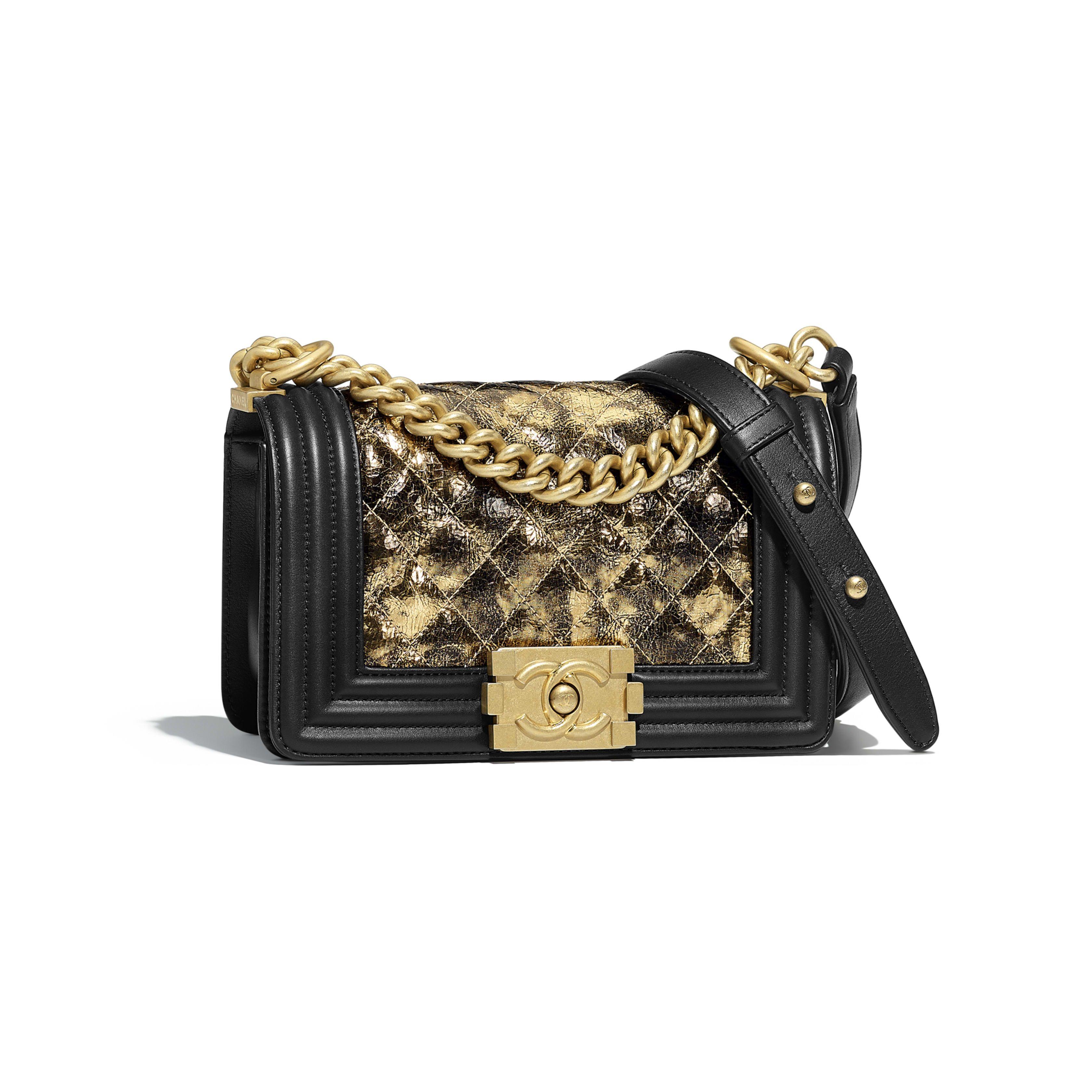 Small Boy Chanel Handbag Metallic Crumpled Goatskin Calfskin Gold Tone Metal Gold Black View 1 Chanel Handbags Small Chanel Handbags Chanel Handbag Boy