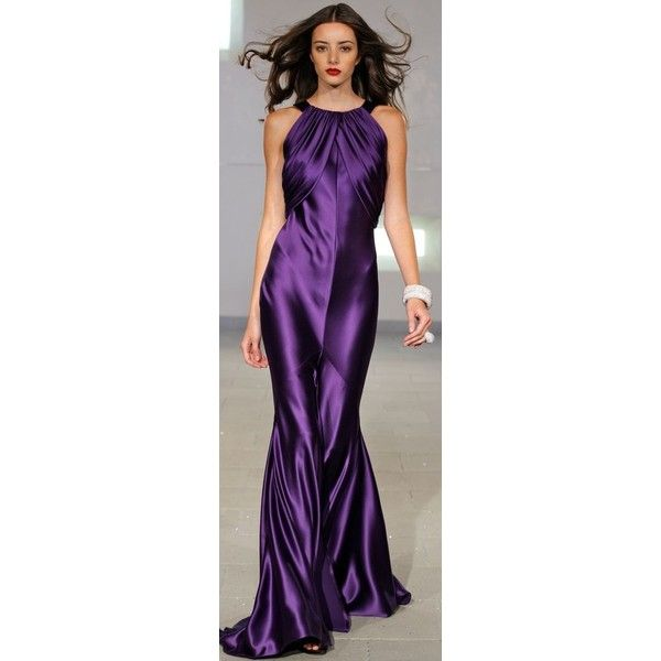 Jewel Neck Sheath Gown for Evening ❤ liked on Polyvore featuring dresses, gowns, purple gown, purple dress, evening gowns, holiday dresses and cocktail gown